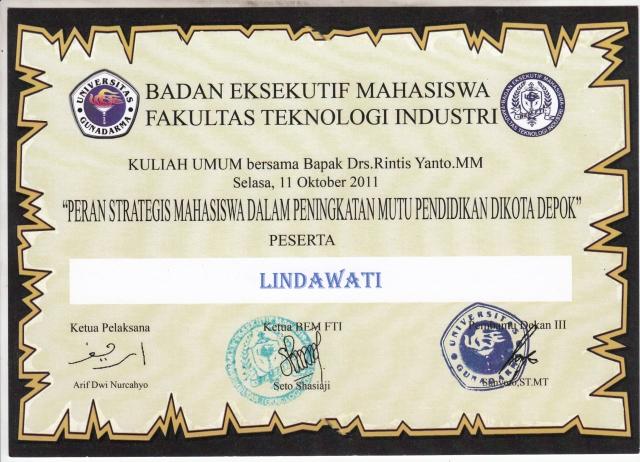 sertifikat kuliyah umum dengan bpk Drs. Rintis